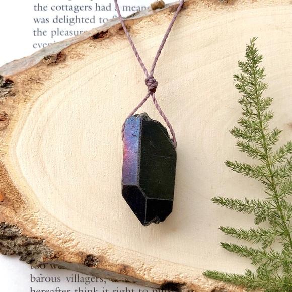 1 Strand Aura Titanium Quartz Point Jewelry Making For Necklace Bracelet Pendant